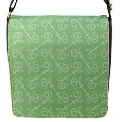 Formula Leaf Floral Green Flap Messenger Bag (S)