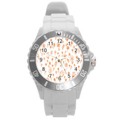 Flower Floral Tulip Orange Round Plastic Sport Watch (L)