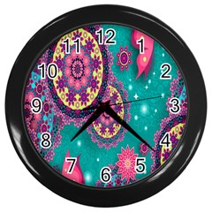 Vintage Butterfly Floral Flower Rose Star Purple Pink Green Yellow Animals Fly Wall Clocks (Black)