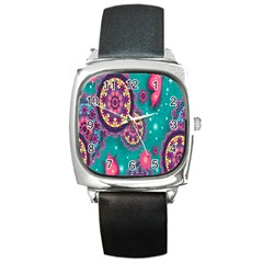 Vintage Butterfly Floral Flower Rose Star Purple Pink Green Yellow Animals Fly Square Metal Watch