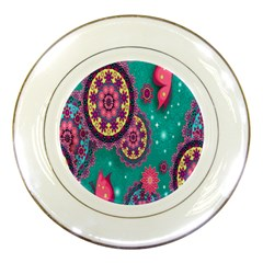 Vintage Butterfly Floral Flower Rose Star Purple Pink Green Yellow Animals Fly Porcelain Plates