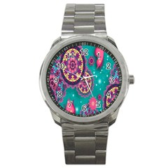 Vintage Butterfly Floral Flower Rose Star Purple Pink Green Yellow Animals Fly Sport Metal Watch