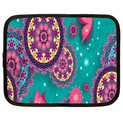Vintage Butterfly Floral Flower Rose Star Purple Pink Green Yellow Animals Fly Netbook Case (Large)