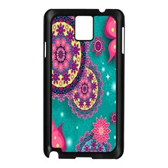 Vintage Butterfly Floral Flower Rose Star Purple Pink Green Yellow Animals Fly Samsung Galaxy Note 3 N9005 Case (Black)