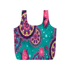 Vintage Butterfly Floral Flower Rose Star Purple Pink Green Yellow Animals Fly Full Print Recycle Bags (S)