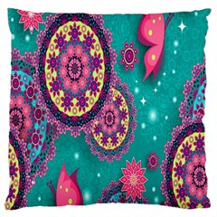 Vintage Butterfly Floral Flower Rose Star Purple Pink Green Yellow Animals Fly Standard Flano Cushion Case (two Sides)