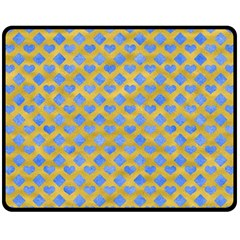 Diamond Heart Card Valentine Love Blue Yellow Gold Fleece Blanket (medium)