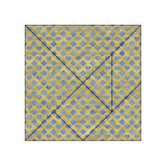 Diamond Heart Card Valentine Love Blue Yellow Gold Acrylic Tangram Puzzle (4  x 4 )