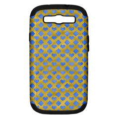 Diamond Heart Card Valentine Love Blue Yellow Gold Samsung Galaxy S III Hardshell Case (PC+Silicone)