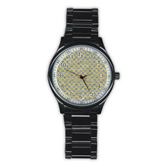 Diamond Heart Card Valentine Love Blue Yellow Gold Stainless Steel Round Watch