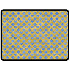 Diamond Heart Card Valentine Love Blue Yellow Gold Double Sided Fleece Blanket (large)