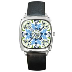 Flower Floral Jpeg Square Metal Watch
