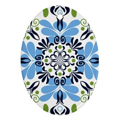 Flower Floral Jpeg Oval Ornament (Two Sides)