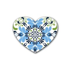 Flower Floral Jpeg Rubber Coaster (Heart)