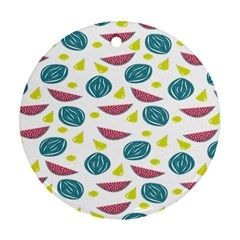 Summer Fruit Watermelon Water Guava Onions Round Ornament (Two Sides)