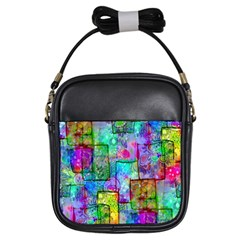 Rainbow Floral Doodle Girls Sling Bags