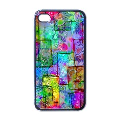 Rainbow Floral Doodle Apple iPhone 4 Case (Black)