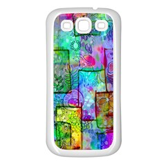 Rainbow Floral Doodle Samsung Galaxy S3 Back Case (White)