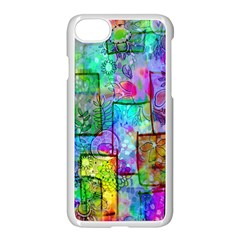 Rainbow Floral Doodle Apple Iphone 7 Seamless Case (white)