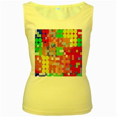 Abstract Polka Dot Pattern Women s Yellow Tank Top