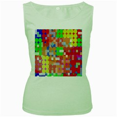 Abstract Polka Dot Pattern Women s Green Tank Top