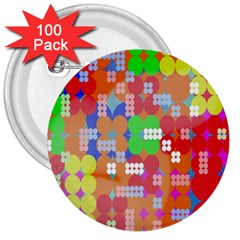 Abstract Polka Dot Pattern 3  Buttons (100 Pack)