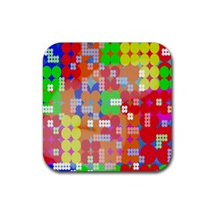 Abstract Polka Dot Pattern Rubber Coaster (Square)