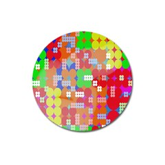 Abstract Polka Dot Pattern Magnet 3  (Round)