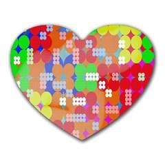 Abstract Polka Dot Pattern Heart Mousepads