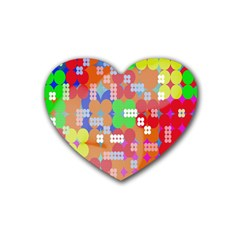 Abstract Polka Dot Pattern Rubber Coaster (Heart)