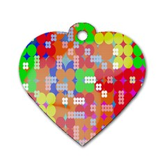 Abstract Polka Dot Pattern Dog Tag Heart (One Side)