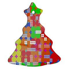 Abstract Polka Dot Pattern Christmas Tree Ornament (Two Sides)