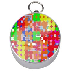 Abstract Polka Dot Pattern Silver Compasses