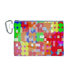 Abstract Polka Dot Pattern Canvas Cosmetic Bag (M)