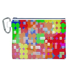 Abstract Polka Dot Pattern Canvas Cosmetic Bag (L)