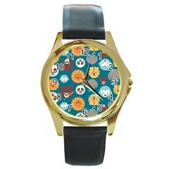 Animal Pattern Round Gold Metal Watch