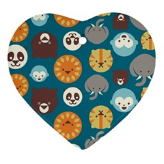 Animal Pattern Heart Ornament (Two Sides)