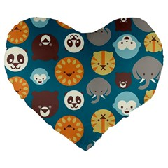 Animal Pattern Large 19  Premium Heart Shape Cushions