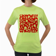 Backdrop Background Card Christmas Women s Green T-Shirt