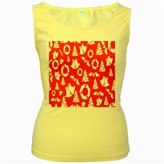 Backdrop Background Card Christmas Women s Yellow Tank Top