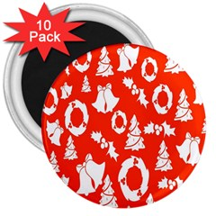 Backdrop Background Card Christmas 3  Magnets (10 pack)