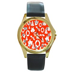 Backdrop Background Card Christmas Round Gold Metal Watch