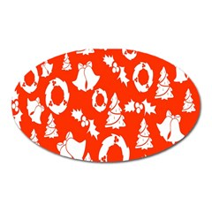 Backdrop Background Card Christmas Oval Magnet