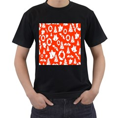 Backdrop Background Card Christmas Men s T Shirt (black) (two Sided)