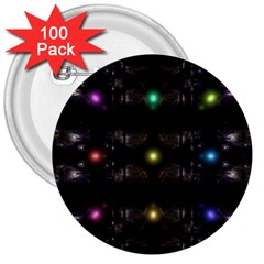 Abstract Sphere Box Space Hyper 3  Buttons (100 Pack)