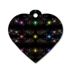 Abstract Sphere Box Space Hyper Dog Tag Heart (Two Sides)