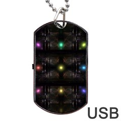 Abstract Sphere Box Space Hyper Dog Tag USB Flash (Two Sides)