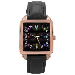 Abstract Sphere Box Space Hyper Rose Gold Leather Watch