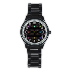 Abstract Sphere Box Space Hyper Stainless Steel Round Watch