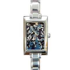 Blue Water Camouflage Rectangle Italian Charm Watch